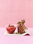 Rack of lamb with rhubarb and strawberry chutney