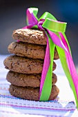 Chocolate biscuits with coloured gift ribbon