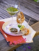 Skewered shrimps coated in rice noodles, frozen Kiwi Daiquiri
