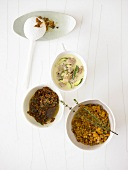 Tuna sauce, pumpkin & lentil ragout, tomato pesto for pasta