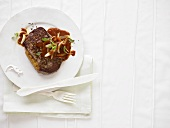 Steak with onion sauce