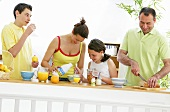 Family making a healthy breakfast