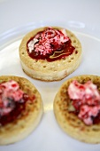Crumpets with cream cheese and jam (UK)