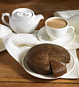 Parkin (English ginger cake) and a cup of tea