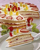 Strawberry cream cake with Gummi bears