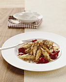 Mohnnudeln (poppy seed noodles) with buttered breadcrumbs & cherries