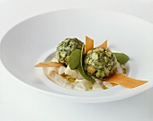 Spinach dumplings with scorzonera ragout