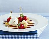 Lemon crêpe with cherries and sour cream ice cream