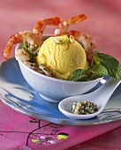 Fruit sorbet with prawns and mint pesto