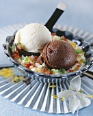 Chocolate & banana ice cream on rice with candied fruit