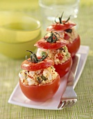 Tomatoes stuffed with couscous and shrimp salad