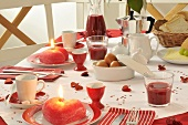 Breakfast table for Valentine's Day