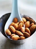 Almonds with spoon in a metal dish