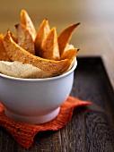 Deep-fried sweet potato wedges