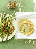 Roasted asparagus with orange vinaigrette & herb pancakes