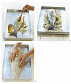 Preparing sea bass in salt crust