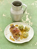 Stuffed rabbit leg with herb dumplings