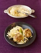 Liver dumplings on sauerkraut