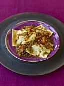 Venison Maultaschen (filled pasta parcels) on lentil sauce
