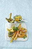 Prawn and vegetable tempura with mango salsa