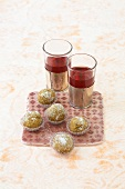 'Nomad' date sweets and Karkade tea (Hibiscus tea)