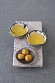 Japanese green tea and batata balls
