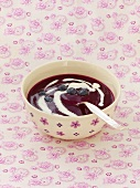 Marbled blueberry soup