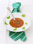 Tomato soup with pumpkin seeds