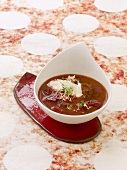 Beetroot soup with beef