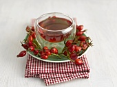 Rose hip tea and fresh rose hips