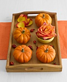 Orange ornamental gourds and rose on wooden tray