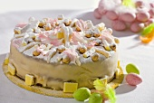 Marzipan-coated Easter cake with sugar eggs