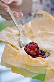 Mixed berry pie with filo pastry