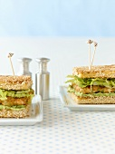 Prawn and avocado sandwiches in sesame toast