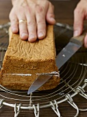 Splitting a loaf cake horizontally