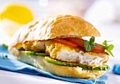 Fried fish fillet in a sandwich