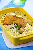 Chicken leg on rice