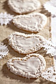 Gingerbread hearts with white icing