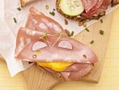 Mortadella open sandwich