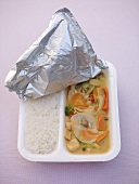 Chinese food in polystyrene container