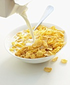 Pouring milk over cornflakes