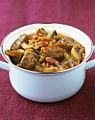 Boeuf Bourguignon with mushrooms and diced bacon