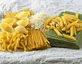 Various types of pasta and risotto rice