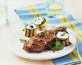 Rump steak with courgette rolls