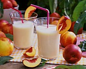Nectarine shake and fresh nectarines