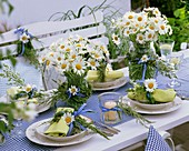 Laid table decorated with ox-eye daisies