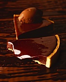 Two pieces of chocolate tart