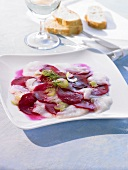 Turbot carpaccio with beetroot