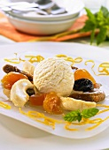 Mixed dried fruit with muscat wine and vanilla ice cream