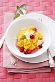 Saffron risotto with cranberries